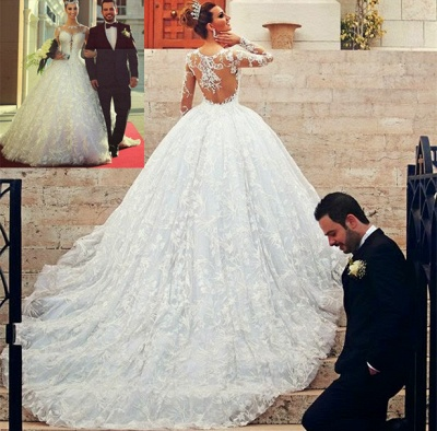 Court Train Lace Charming Wedding Dresses  Long Sleeve Bridal Ball Gowns_3