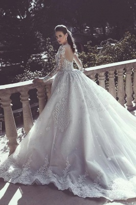 Long Sleeve Lace Appliques Mermaid Wedding Dress  Overskirt Long Train Bride Dress WE0199_3