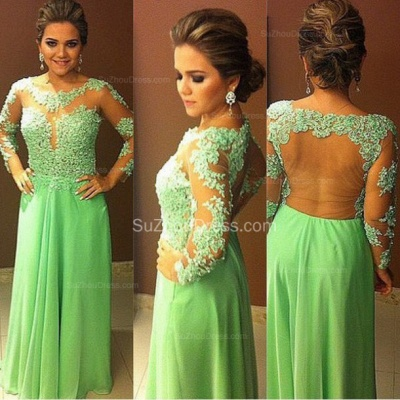 A-Line Scoop Chiffon Evening Dresses  Long Sleeve Appliques Prom Gowns_2