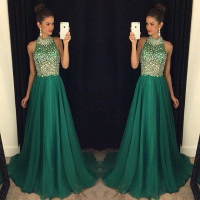 New Arrival Beading A-Line  Prom Dress Crystal Sleeveless Evening Gown_1