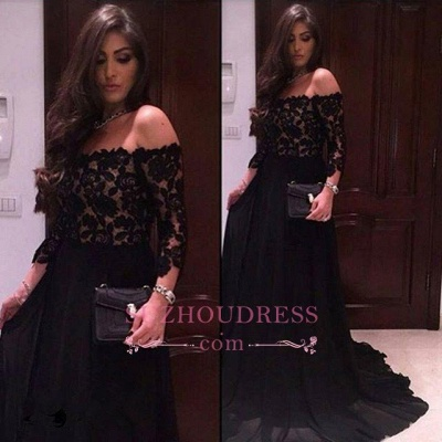 Black Lace A-line Off The Shoulder Evening Dresses  Sleeves  Prom Dress_1