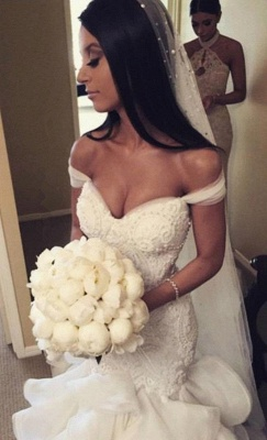 Sexy Mermaid Tiered  Wedding Dress Off the Shoulder Beading Long Bridal Gown_1