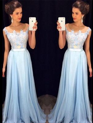 Elegant Chiffon Lace Applique Prom Dress Latest A-line Custom Made Evening Gown GA036_1