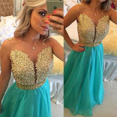 Latest A-Line Crystal Evening Gown Sleeveless Floor Length Prom Dress_1