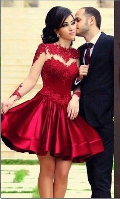 Ruby Short Cute Cocktail Dresses Sheer Long Sleeve Lace Appliques Popular Homecoming Dresses_3