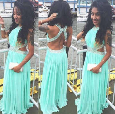 A-Line Green Chiffon Long Prom Dress with Beadings New Arrival Halter Open Back Evening Dress_2
