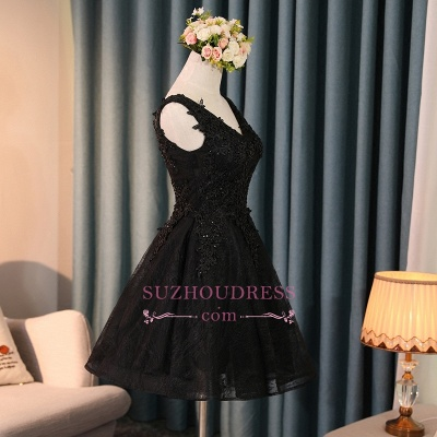 New Arrival Black Short Homecoming Dress | Lace-Appliques A-line Hoco Dresses with Beadings_1
