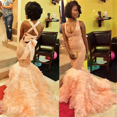 Coral Pink Mermaid Evening Dresses Ruffles Organza  Prom Dresses  AE0011_3