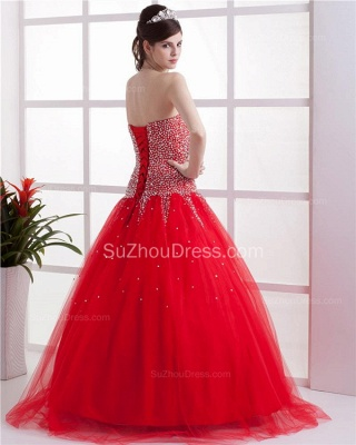 Red Sweetheart Quinceanera Dresses  Sequins Beading  Floor Length Lace-up Tulle Sleeveless Prom Dresses_5