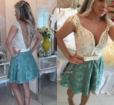 A-Line Backless Beaded Lace Short Cap Sleeves Homecoming Dresses_1