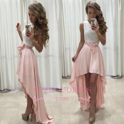 Lace Newest Straps Chiffon Hi-Lo Sleeveless A-line Prom Dress_1