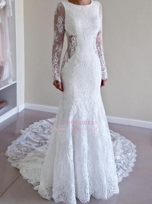 Gorgeous Lace Mermaid Backless Sweep Train Long Sleeve Wedding Dresses_4