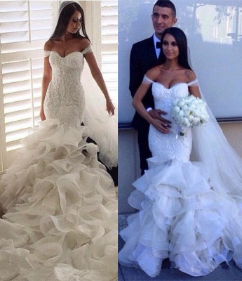 Sexy Mermaid Tiered  Wedding Dress Off the Shoulder Beading Long Bridal Gown_7