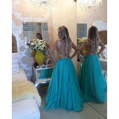 Latest A-Line Crystal Evening Gown Sleeveless Floor Length Prom Dress_3