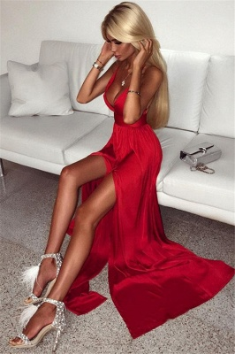 Deep V-neck Front Slit Sexy Formal Dresses  Sleeveless Red Long Sexy Ball Dress_1