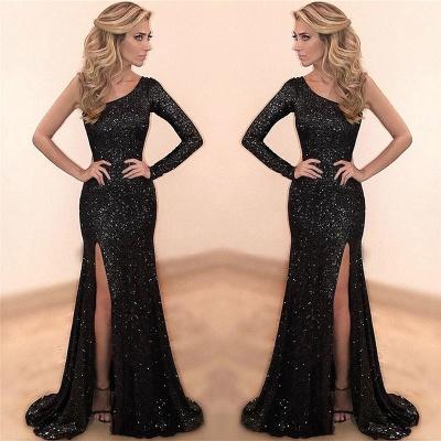 One Sleeve Black Sequins Sparkle Evening Dresses  Sexy Split Formal Dress_3