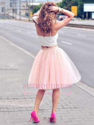Pink Spaghetti Strap Formal Dress  Tulle White Sexy Sleeveless Two Piece Homecoming Dress_1