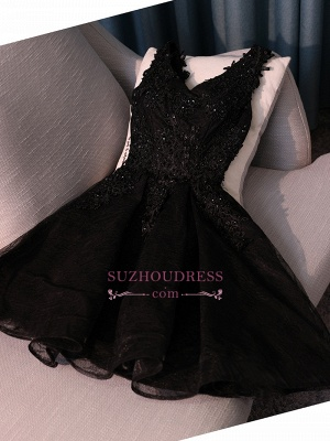 New Arrival Black Short Homecoming Dress | Lace-Appliques A-line Hoco Dresses with Beadings_2