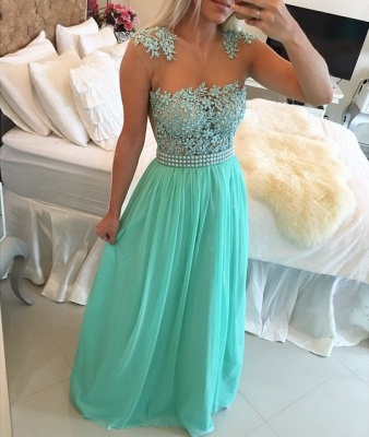 New Arrival Lace Chiffon Prom Dresses  with Beadings Sheer Neck Capped Sleeves Long Evening Gowns BMT010_2