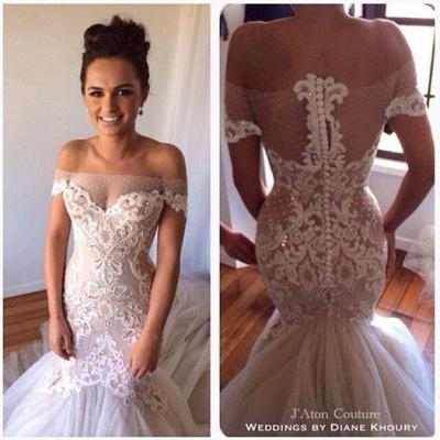 Off-the-shoulder Mermaid Wedding Dresses  Lace Tulle Best-selling Bridal Dress_2