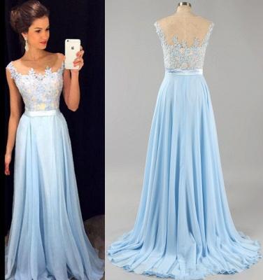 Elegant Chiffon Lace Applique Prom Dress Latest A-line Custom Made Evening Gown GA036_3