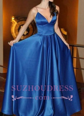 V-neck Simple A-line Spaghettis-Straps Shiny Blue Prom Dresses_3