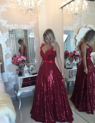 Red Sequined Lace Beading Prom Dress Popular Open Back Plus Size Evening Dresses for Women BMT022_2