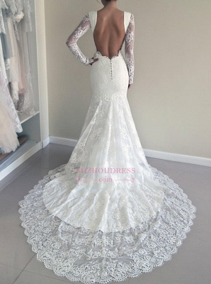 Gorgeous Lace Mermaid Backless Sweep Train Long Sleeve Wedding Dresses_3