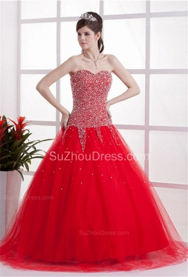 Red Sweetheart Quinceanera Dresses  Sequins Beading  Floor Length Lace-up Tulle Sleeveless Prom Dresses_6