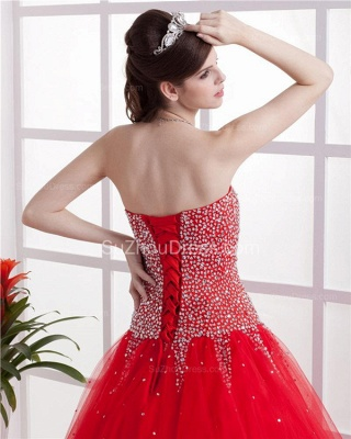 Red Sweetheart Quinceanera Dresses  Sequins Beading  Floor Length Lace-up Tulle Sleeveless Prom Dresses_4