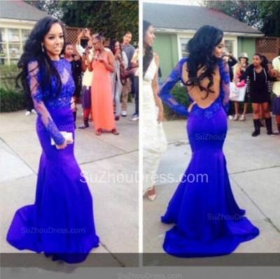 Blue Evening Dresses Jewel Long Sleeve Sweep Train Zipper Elegant Mermaid Evening Gowns_2