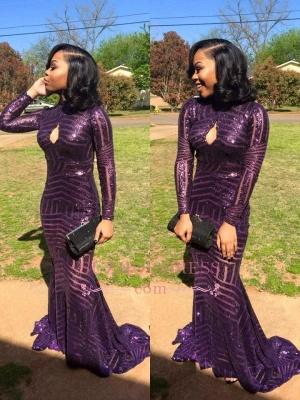 Sequins Keyhole High-Neck Mermaid Long-Sleeve Prom Dress BA4725_1