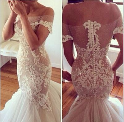 Off-the-shoulder Mermaid Wedding Dresses  Lace Tulle Best-selling Bridal Dress_4