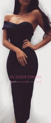 Sheath Sexy Bodycon Cocktail Dress  Sweatheart Black Tea-length Homecoming Dress_1