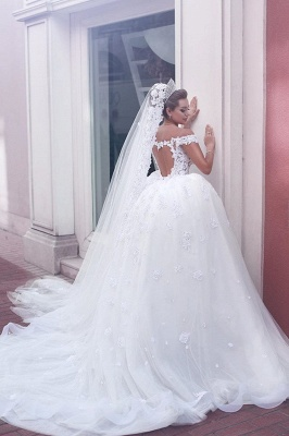 V-neck Off Shoulder Wedding Dresses Lace Ball Gown Bridal Gowns BA3538_3