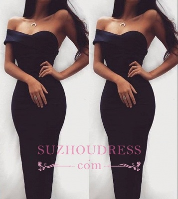 Sheath Sexy Bodycon Cocktail Dress  Sweatheart Black Tea-length Homecoming Dress_2