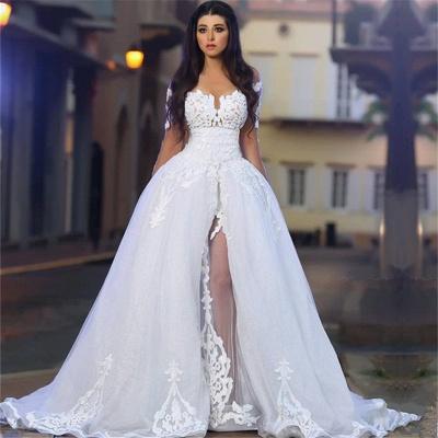 White A-Line Elegant  Bride Dress Appliques Tulle Long Sleeves Wedding Dresss BA4426_2