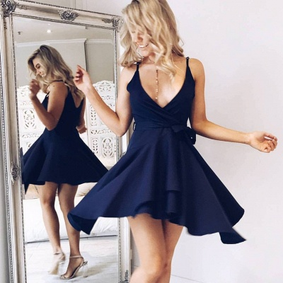 Deep V-neck Straps Navy Sexy Homecoming Dress   Short Cocktail Dress_3