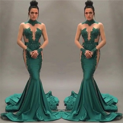 Nude Tulle Beaded Lace Sexy Prom Dresses |  Long Sleeve Green  Evening Gown_3