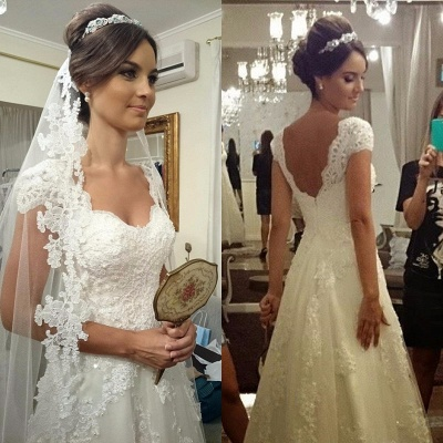 A-Line White Lace Long Wedding Dress with Beadings Elegant Applique Short Sleeve Zipper Bridal Gown_4