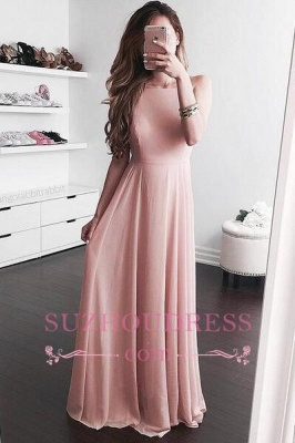 Pink A-line Sleeveless Evening Dress  Elegant Floor-length Jewel Prom Dress_3