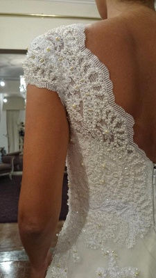 A-Line White Lace Long Wedding Dress with Beadings Elegant Applique Short Sleeve Zipper Bridal Gown_3