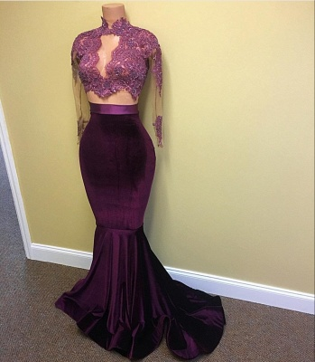 Sexy Velvet Evening Gown  High Neck Lace Long Sleeve Prom Dress with Keyhole BA4641_3