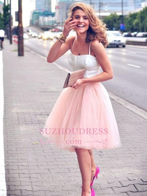 Pink Spaghetti Strap Formal Dress  Tulle White Sexy Sleeveless Two Piece Homecoming Dress_4