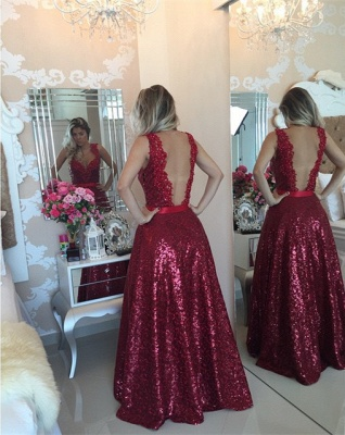 Red Sequined Lace Beading Prom Dress Popular Open Back Plus Size Evening Dresses for Women BMT022_3