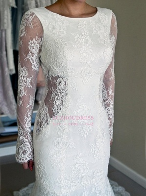 Gorgeous Lace Mermaid Backless Sweep Train Long Sleeve Wedding Dresses_1