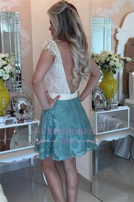 A-Line Backless Beaded Lace Short Cap Sleeves Homecoming Dresses_3