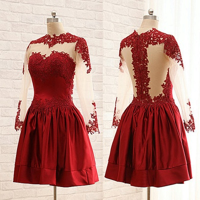Ruby Short Cute Cocktail Dresses Sheer Long Sleeve Lace Appliques Popular Homecoming Dresses_2
