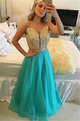 Latest A-Line Crystal Evening Gown Sleeveless Floor Length Prom Dress_4