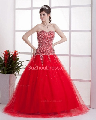 Red Sweetheart Quinceanera Dresses  Sequins Beading  Floor Length Lace-up Tulle Sleeveless Prom Dresses_1